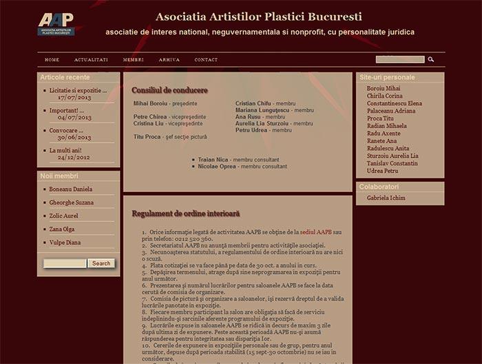 Site-ul Asociatiei Artistilor Plastici din Bucuresti - Pagina Home