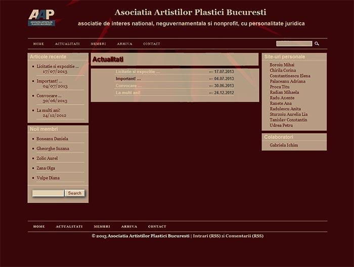 Site-ul Asociatiei Artistilor Plastici din Bucuresti - Pagina de actualitati