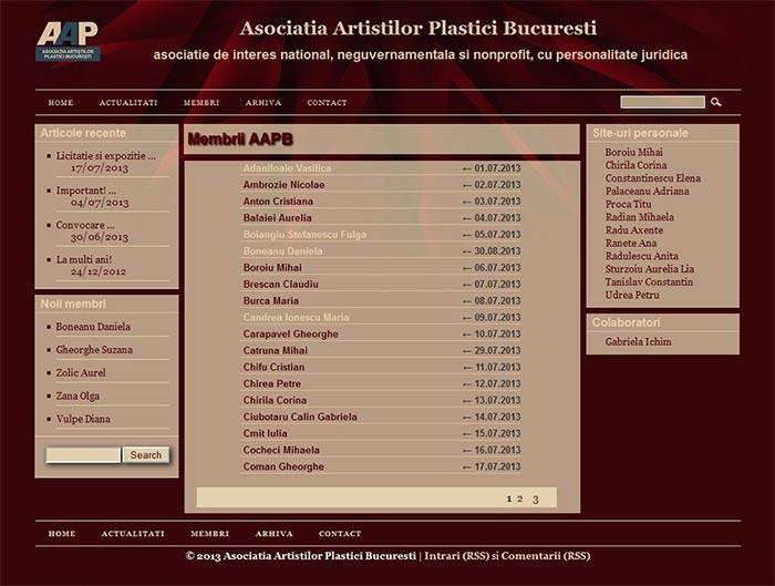 Site-ul Asociatiei Artistilor Plastici din Bucuresti - Pagina de membri