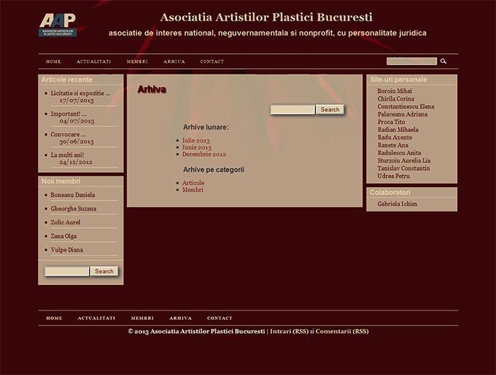 Site-ul Asociatiei Artistilor Plastici din Bucuresti - Pagina de arhiva