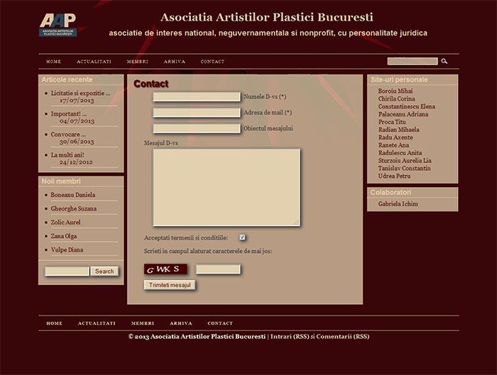 Site-ul Asociatiei Artistilor Plastici din Bucuresti - Pagina de contact