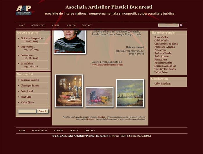 Site-ul Asociatiei Artistilor Plastici din Bucuresti - Pagina personala a unui membru