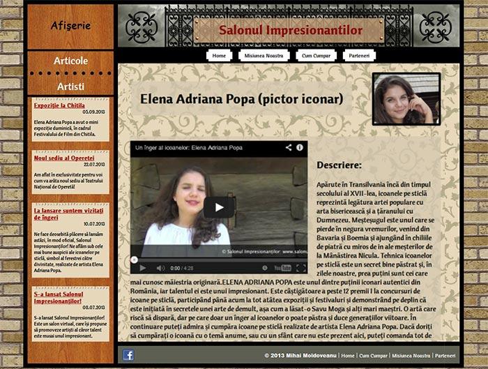 Site-ul Impresionantilor - Pagina personala a unui artist