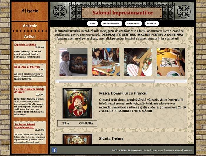 Site-ul Impresionantilor - Pagina personala a unui artist (derulare)