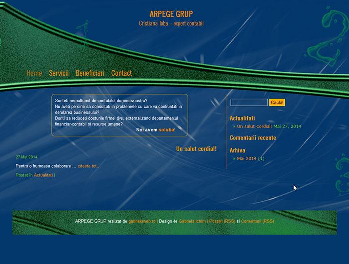 Site-ul Arpege Grup - Pagina de deschidere