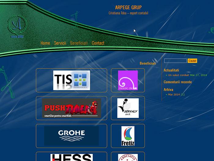 Site-ul Arpege Grup - Pagina de prezentare a beneficiarilor